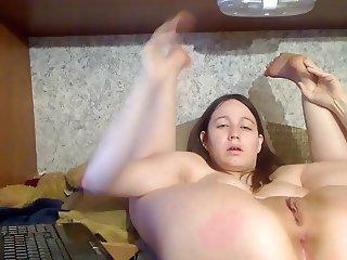 Lexi doing the pretzel in her trailer