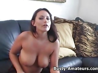 Busty Leslie masturbates after an interview