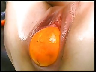 Fruit fucking freak crams pussy full of toys, vegetables, and more