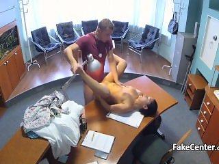 Surprised female patient fucks doctor