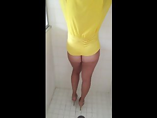 Busty wife bottomless showing pussy mound