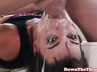 Deepthroating gonzo babe facefucked