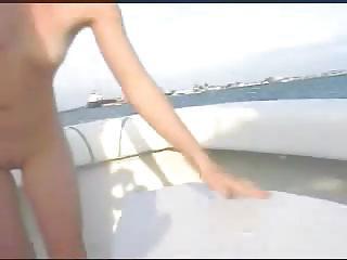 Blondine on a boat enjoying het pussy