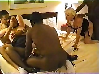 Brunette Rough Interracial gangbang (amatuer)