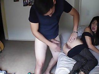 Petite Brunette in Highheels Sucks and Fucks