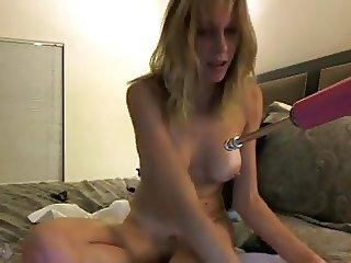 Ass fucking machine pounds girl