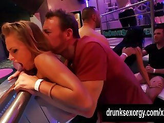 Slutty pornstars fuck in a club