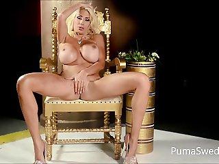 European Blonde Puma Swede Gets Cums From Pink Dildo!