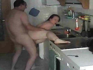 Grandpa fuck in kitchen creampie