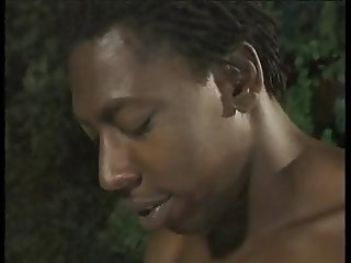 Two guys fuck and facialize sexy ebony at night by pool