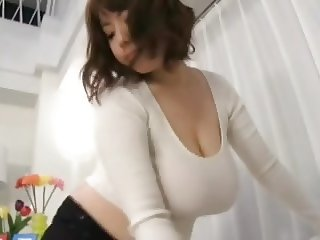 Housewife Rin Aoki teasing and giving blowjob