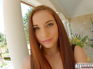 AlliInternal stunning redhead is filled with cum in this
