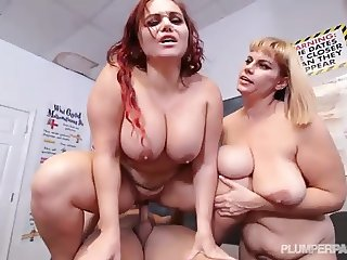 Sexy Busty Curvy Teacher Has to Discipline 2 Horny Students