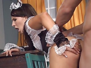 Chauffeur fucks maid in kitchen