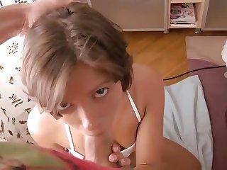 Short Haired Brunette - Bedroom Exercise