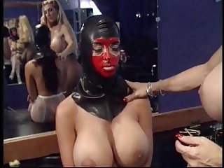 Mistress licks slave's cunt and puts anal beads