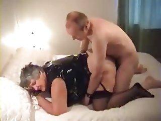 Granny Libby in black PVC