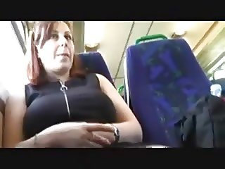 Brunette flashing on train
