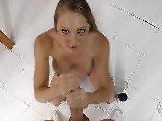 Shawna Lenee jerking off a cock