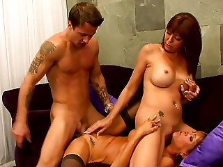 Threesome with 2 sexy mature milf fucks a younger guy