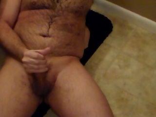 Husband jerking off right after shower.