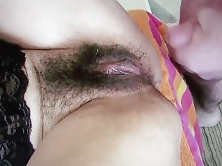 Buddy cums over wife's clit