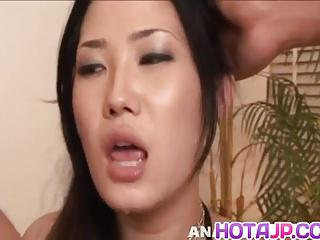 Yui Komine sucks boners and is fucked by them in double team