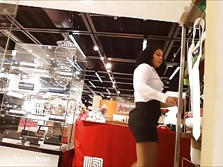 Voyeur pantyhose candid in the mall
