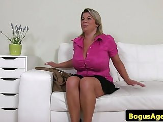 Bigtitted euro toying her pussy at casting