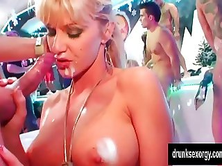 Hot pornstars fuck in club
