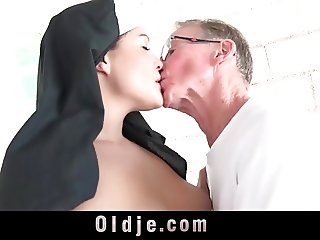Big dick grandpa shoves a young nun's chastity
