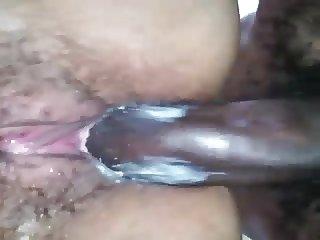 Ebony hairy and creamy pussy