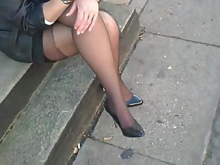up-skirt Waiting for bus in stockings and high heels