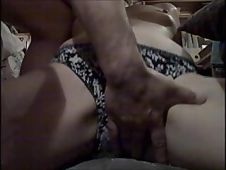 Rubbing the pattern off her panties