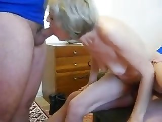 Horny Granny Pleasing Two Men