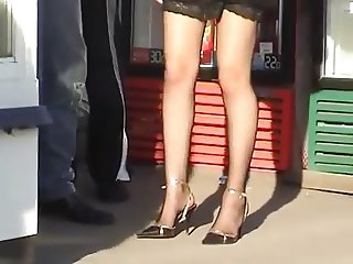 candid sexy women in pantyhose high heels with boyfriend