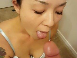 Sexy bride giving blowjob