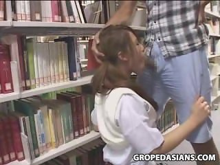 Shy School Teen molested in Bookstore