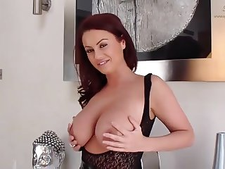 Sexy brunette with big natural tits ready for fucking in pvc
