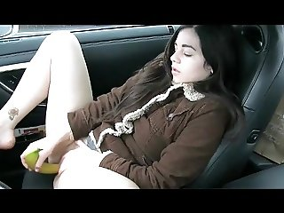 Amateur - Cute Little Tit Brunette Inserts Banana in Car