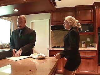 Dude grabs babe's gorgeous breasts in the kitchen