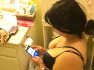 part 1 peeping on wife and caught her sexting dirty slut