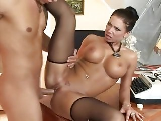 Secretary Candy Strong fucking in black stockings