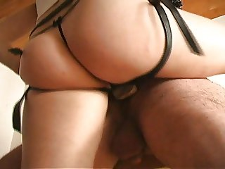 Gothic Strap On Cock slut gets Plugged