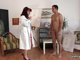 Hot mature play with him