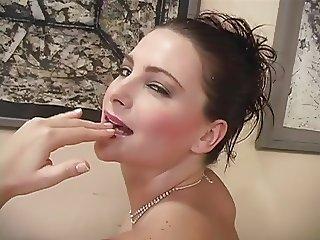 Eastern European slut takes two cocks