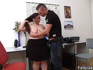 Fucking big belly office lady on the floor