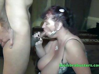 Granny Kim milking black cock