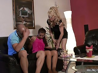 His mom teaching teen strap on fuck