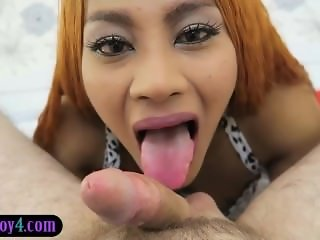 Hung ladyboy from Thailand named Jasmine double handjob